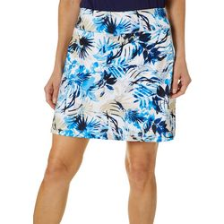 Womens Colorful Leaves Mesh Pull On Skort
