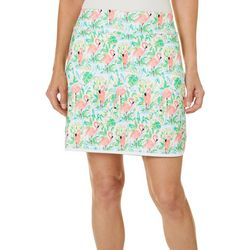 Coral Bay Golf Womens Flamingo Paradise Tulip Hem Skort
