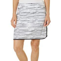 Womens Watercolor Stripes Pull On Skort