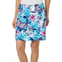 Womens Butterfly Hibiscus Print Pull On Skort