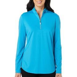 Womens Solid Long Sleeve Polo Shirt