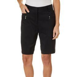 Womens Solid Zip Pocket Shorts