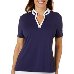 Coral Bay Golf Womens Ribbon Detail Short Sleeve