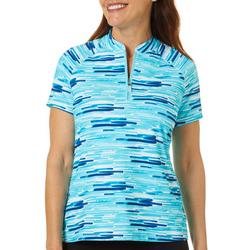 Womens Striped Print Zippered Polo Shirt