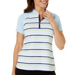 Womens Stripe 1/4 Zip Raglan Polo Shirt