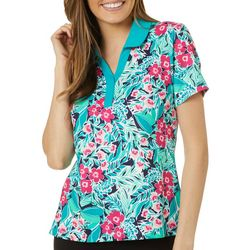 Lillie Green Womens Tropical Floral Golf Polo Shirt