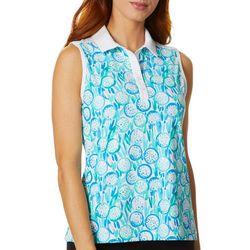 Lillie Green Womens Sleeveless Fore! Polo Shirt