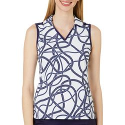 Lillie Green Womens Round About Rope Print Polo Shirt