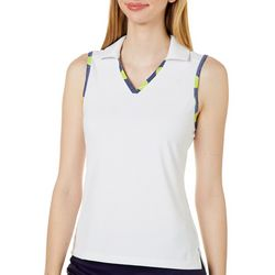 Lillie Green Womens In Your Court Contrast Trim Polo Shirt