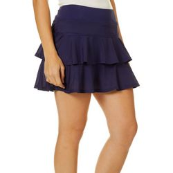 Womens Solid Tiered Mesh Pull On Skort