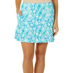 Lillie Green Womens Fore! Flounce Pull On Skort