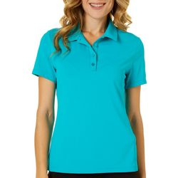 Lillie Green Womens Solid Button Front Polo Shirt