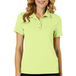 Womens Solid Button Front Polo Shirt