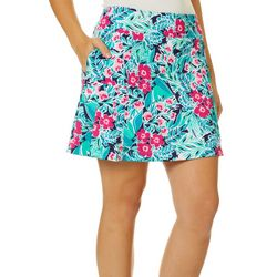 Lillie Green Womens Floral Print Pull On Skort