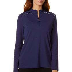 Lillie Green Womens Ruffle Detail 1/4 Zip Long