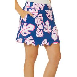 Lillie Green Womens Tropical Leaf Scalloped Pull On Skort