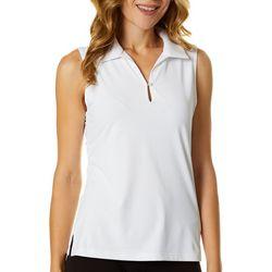 Lillie Green Womens Solid Sleeveless Back Mesh Polo Shirt