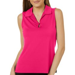 Womens Solid Sleeveless Back Mesh Polo Shirt
