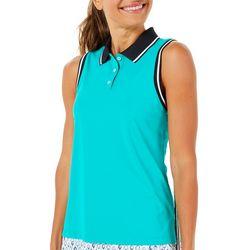 Lillie Green Womens Colorblock Sleeveless Polo Shirt
