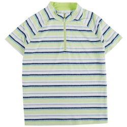 Coral Bay Golf Womens Striped Raglan Polo Short Sleeve Top