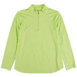 Coral Bay Golf Womens Solid Zip Long Sleeve Top