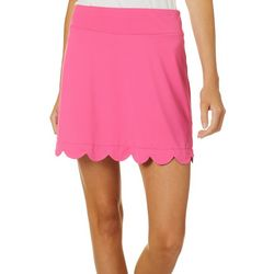 Lillie Green Womens Solid Scalloped Pull On Skort