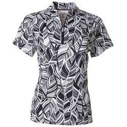 Coral Bay Golf Womens Leafy Mandarin Collar Zip