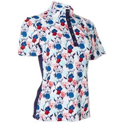 Coral Bay Golf Womens Americana Floral Snap Short Sleeve Top