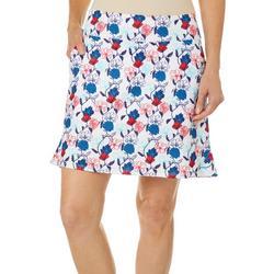 Womens Americana Floral Pull On Skort