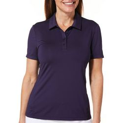Lillie Green Womens Solid Short Sleeve Polo Shirt