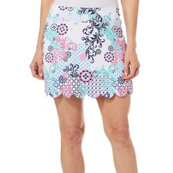 Lillie Green Womens Scroll Print Scalloped Pull On Skort