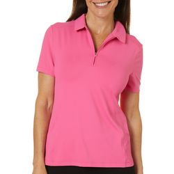 Lillie Green Womens Back Mesh Short Sleeve Polo Shirt