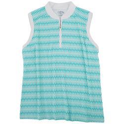 Womens Quarter Zip Sleeveless Polo Shirt