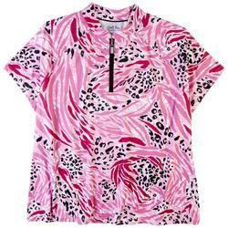 Womens 1/4 Zip Printed Polo Shirt