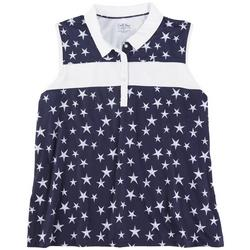 Womens Star Print Sleevless Golf Top