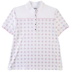 Coral Bay Golf Womens Button Print Polo