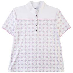 Womens Button Print Polo