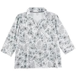 Womens Floral Traced 3/4 Sleeves Top