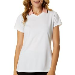Oakley Womens Solid Contrast Collar Short Sleeve Polo Shirt