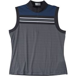 Callaway Womens Sleeveless Striped Polo Shirt