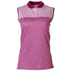 Callaway Womens Sleeveless Mini Leaf Collared Shirt
