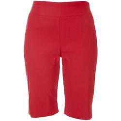 Coral Bay Womens Casual  Solid Color Bermuda Shorts