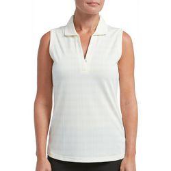 Tournament Collection Womens Sleeveless Plaid Polo Shirt