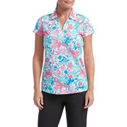 Tournament Collection Womens Graphic Floral Polo Shirt