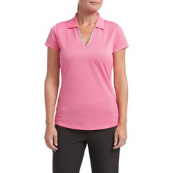 Tournament Collection Womens Solid Floral Trim Polo Shirt