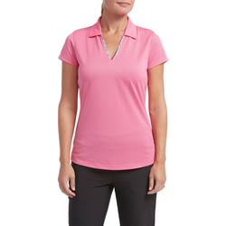 Womens Solid Floral Trim Polo Shirt
