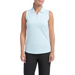 Womens Subtle Stripe Sleeveless Polo