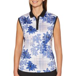 PGA TOUR Womens  Floral Print Sleeveless Polo Shirt