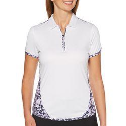 PGA TOUR Womens Solid Quarter Zip Long Sleeve Top