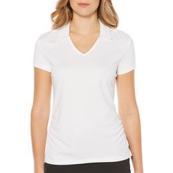 Womens V-Neck Solid Polo Shirt